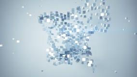 De kubieke deeltjes in 3D beschikbare ruimtesamenvatting geven terug royalty-vrije illustratie