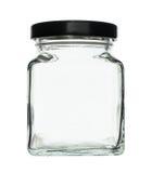 De kubieke die Fles van het Vormglas op witte achtergrond wordt geïsoleerd Royalty-vrije Stock Foto