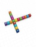 De kubus van de tekst/Concept Scabble Stock Foto