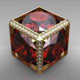 De kubus van het juweel met gem Royalty-vrije Stock Foto's