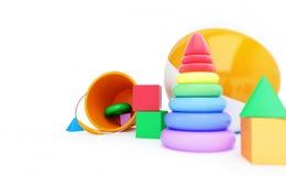 De kubus van het speelgoedalfabet, strandbal, piramide 3D illustratie Royalty-vrije Stock Foto