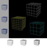 De kubus wireframe plaatste Vectoroverzichtsillustratie Stock Afbeeldingen