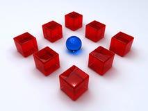 De kubussen en het gebied van het glas Royalty-vrije Stock Afbeeldingen