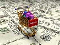 De kubussen met percenten in het het winkelen 3d karretje, geven terug Stock Afbeeldingen