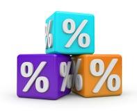 De kubussen met percents Royalty-vrije Stock Foto's