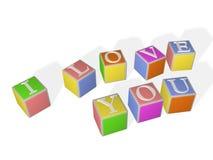 de kubussen van 3D multi-coloured kinderen met brieven Stock Afbeelding