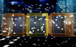 De kubussen van gegevens in cyberspace Stock Illustratie