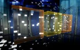 De kubussen van gegevens in cyberspace 2 Stock Foto's