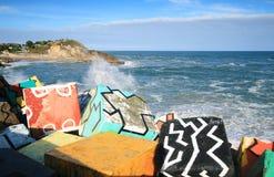 De kubussen van geheugen, Llanes, Asturias, Spanje stock foto's
