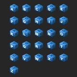 De Kubussen van het alfabet (Blauw Thema) Stock Afbeelding