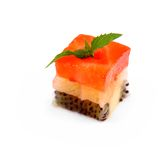 De kubussen van het dessertfruit van aardbei, citroen en kiwi Royalty-vrije Stock Afbeeldingen