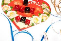 De kubussen van woorden over hart Royalty-vrije Stock Fotografie