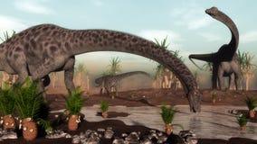 De kudde die van Diplodocusdinosaurussen gaan drinken - 3D Stock Foto