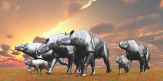 De Kudde van Eoceenparaceratherium Royalty-vrije Stock Afbeeldingen