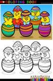 De kuikens van het beeldverhaal in paaseieren die pagina kleuren Royalty-vrije Stock Afbeeldingen