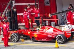 De kuil-lijn van het einde van Felipe Massa de Dagen Barcelona van de Test Stock Afbeeldingen