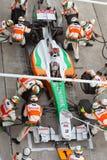 De kuilen van Adrian Sutil bij Maleise Formule 1 Stock Foto