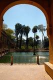 De kungliga trädgårdarna för Alcazar - Seville Arkivfoton