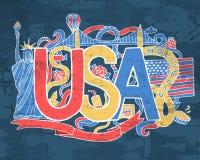 De kunst de het abstracte hand van de V.S. van letters voorzien en achtergrond van krabbelselementen Vectorillustratie voor kleur Stock Foto's