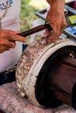De kunst en het patroon van het snijden van tafelzilver, Thailand Stock Fotografie