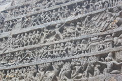 De kunst op de muren van Oude steen sneed Kailasa-tempel, uitholt Nr 16, Ellora-holen, India Stock Foto's