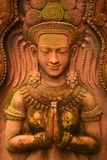 De kunst van Apsara van het beeldhouwwerkzandsteen van oude beschaving Khmer Kambodja, Laos, Thailand, Zuidoost-Azië royalty-vrije stock foto