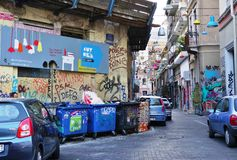 De kunst van de graffitistraat in Athene, Griekenland Stock Foto's