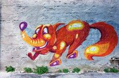 De kunst van de graffitistraat in Athene, Griekenland Stock Afbeeldingen