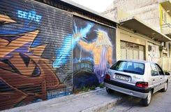 De kunst van de graffitistraat in Athene, Griekenland Stock Afbeelding