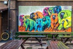 De kunst van de graffitistraat in Londen Stock Foto