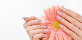 De kunst van de spijker en roze bloem Royalty-vrije Stock Foto