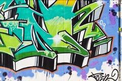 De kunst van de straat, segment van een stedelijke graffiti op muur Royalty-vrije Stock Foto's