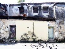 De kunst van de de draadstraat van de muurmuurschildering, Penang Stock Fotografie
