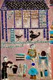 De Kunst van het mozaïek bij de Leren riem van Wat Xieng Stock Foto's