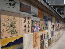 De kunst van de keramische tegelsverf of muurkunst in Taiwan stock foto's