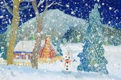 De Kunst van kinderen - Sneeuwval Stock Afbeeldingen