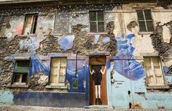 De kunst van open deur in de straat van Santa Maria Een project dat aan ` open ` de stad aan artistieke en culturele gebeurteniss Stock Afbeeldingen