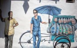De Kunst van de Penangstraat, Georgetown, Penang, Maleisië Stock Foto's