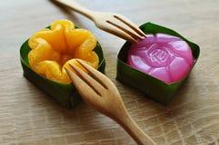 De kunst van Thaise desserts is doorgegeven door de generaties Thaise sweets, heeft unieke, kleurrijke verschijning en distinc stock afbeelding