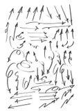 De kunst vector vastgestelde illustratie van de pijlen grote vastgestelde hand getrokken leuke lijn vector illustratie