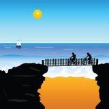 De kunst vectorillustratie van strandfietsers Stock Foto's