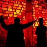 De kunstachtergrond van twee schaduwen meest gogolfest rode promzone Stock Foto