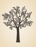 De kunstconcept van de wervelingsboom Bruin embleem Gravure Logotype Stock Afbeeldingen