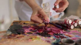 De kunstenaar drukt de verf van de buis op palet stock footage