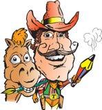 De Kunstenaar en het Paard van de cowboy Stock Foto's