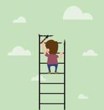 De kunstenaar schildert ladder en beklimt ook Stock Foto