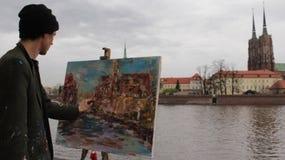 De kunstenaar trekt Royalty-vrije Stock Afbeeldingen