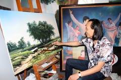 De kunstenaar trekt landschap Stock Foto