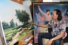 De kunstenaar trekt landschap Stock Afbeelding