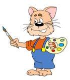 De kunstenaar van de kat stock illustratie
